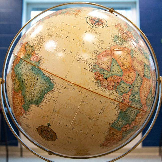 A close-up image of a globe.